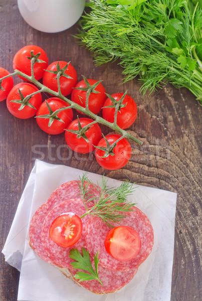 サンドイッチ 赤 プレート 肉 脂肪 トマト ストックフォト © tycoon