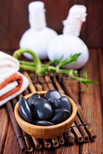 Foto d'archivio: Basalto · nero · ciotola · tavola · verde · medicina