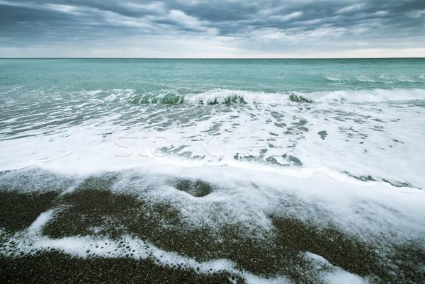 Fırtına deniz gökyüzü hızlandırmak dalga karanlık Stok fotoğraf © tycoon
