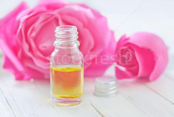 Aroma olaj üveg virág rózsa orvosi Stock fotó © tycoon