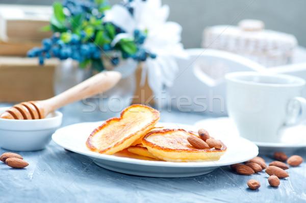 Palacsinták tányér asztal étel háttér szövet Stock fotó © tycoon