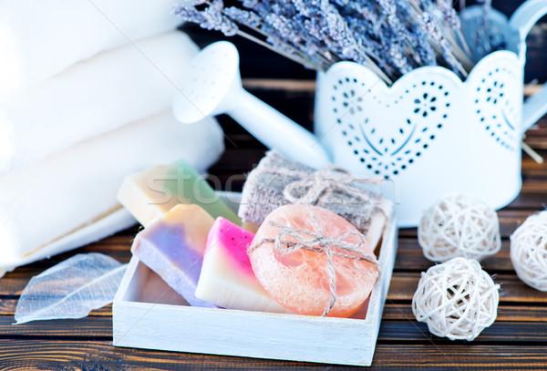 Obiektów kąpieli kolor mydło lawendy tabeli Zdjęcia stock © tycoon