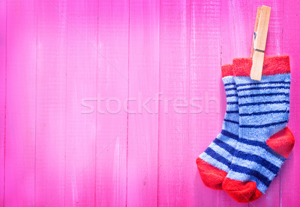 Bebé calcetines rosa mesa de madera nina textura Foto stock © tycoon