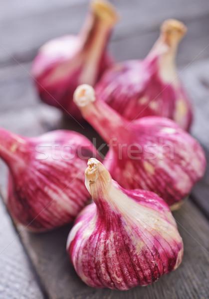чеснока продовольствие таблице темно белый корзины Сток-фото © tycoon