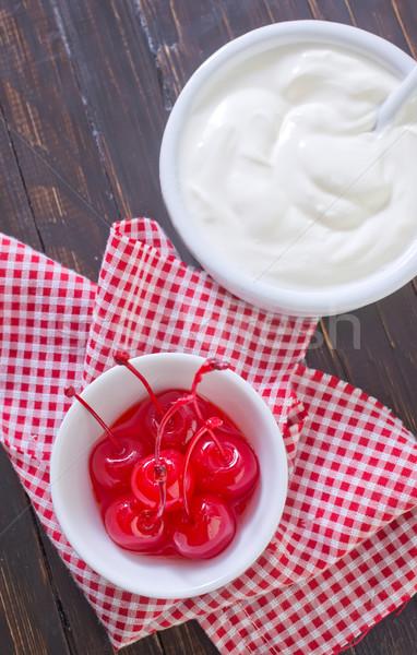 cherry maraschino and sour creame Stock photo © tycoon