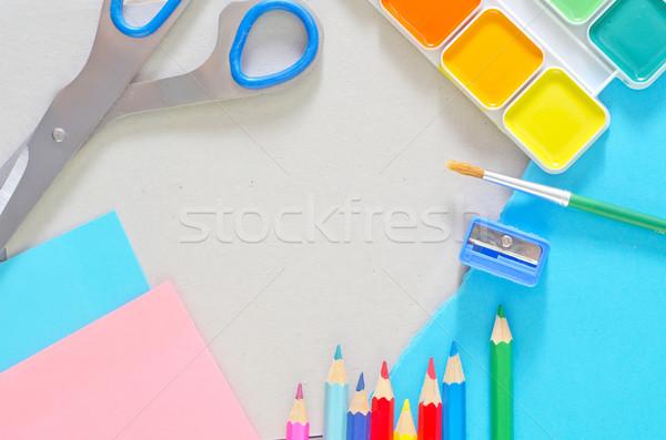 школьные принадлежности школы студент фон инструменты столе Сток-фото © tycoon