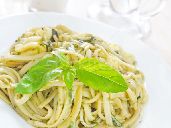 Makarna pesto mutfak peynir akşam yemeği beyaz Stok fotoğraf © tycoon