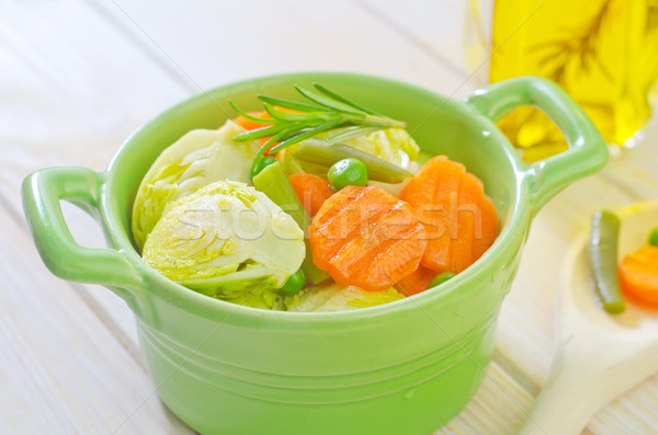 Zöldségek étel étterem vacsora fekete kövér Stock fotó © tycoon