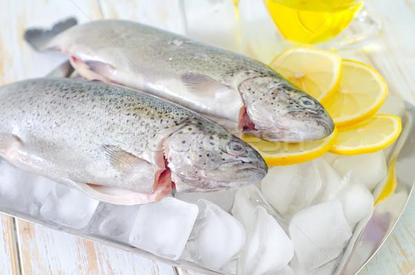 Nyers hal étel piros piac citrom Stock fotó © tycoon