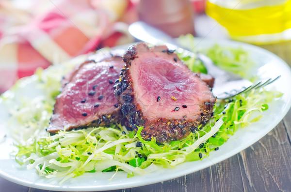 Bife comida madeira sangue jantar compras Foto stock © tycoon