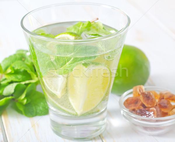 Foto stock: Mojito · festa · vidro · tabela · coquetel · limão