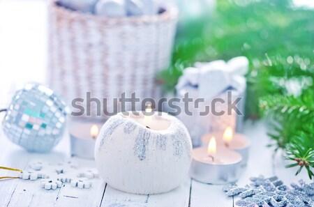Kefir vidro jarro tabela comida madeira Foto stock © tycoon
