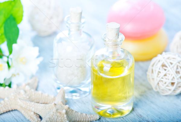 Spa olie zout fles zeezout tabel Stockfoto © tycoon