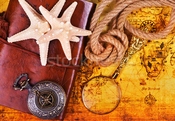 Stock photo: old notebook, loupe and compass on the map