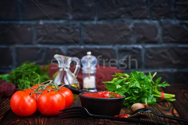 Salsa di pomodoro fresche pomodoro tavola frutta mangiare Foto d'archivio © tycoon