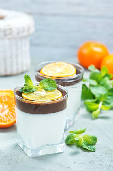 Desierto yogurt chocolate mesa cóctel desayuno Foto stock © tycoon