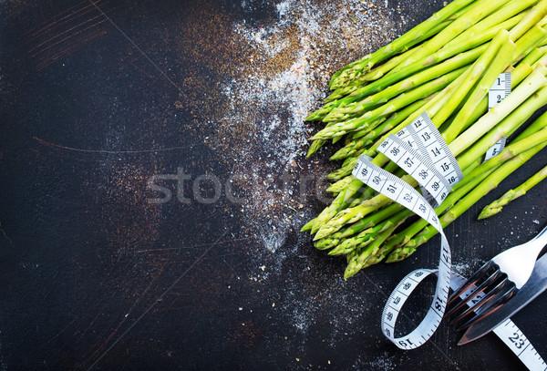 зеленый спаржа белый пластина таблице продовольствие Сток-фото © tycoon