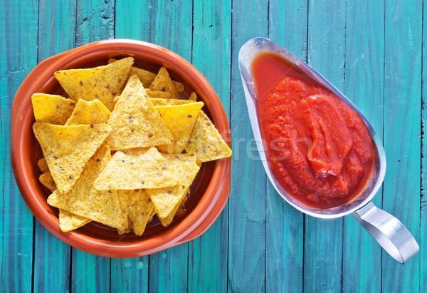 Foto stock: Nachos · restaurante · rojo · tomate · cocinar · comer