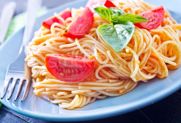 Tészta sajt tányér eszik paradicsom olajbogyó Stock fotó © tycoon