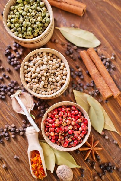 Lezzet baharat gıda ahşap arka plan yeşil Stok fotoğraf © tycoon