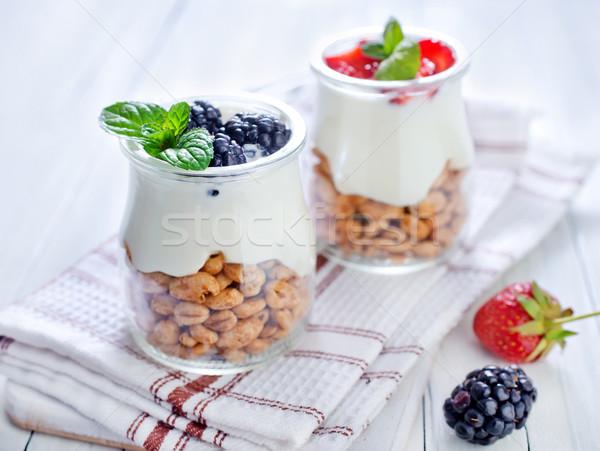 Pustyni żywności owoców szkła śniadanie kubek Zdjęcia stock © tycoon