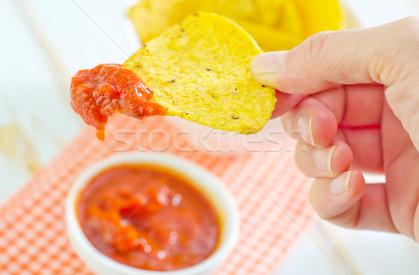 Nachos alimentaire fête bois restaurant table Photo stock © tycoon