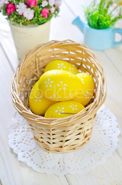 Ovos de páscoa comida feliz ovo laranja verde Foto stock © tycoon