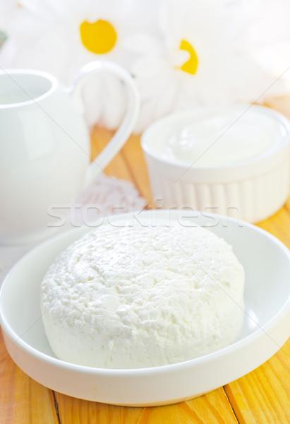Huisje keuken drinken boerderij kaas plaat Stockfoto © tycoon