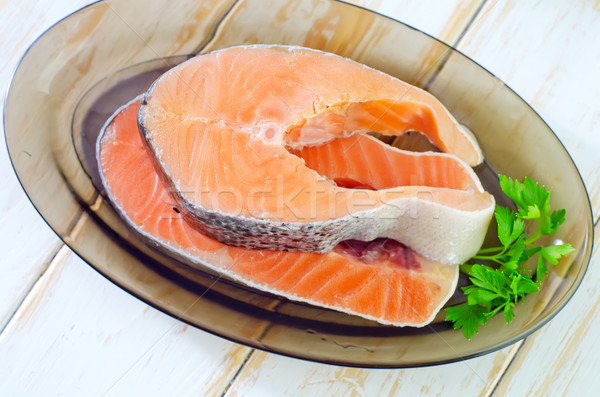 Somon ahşap balık akşam yemeği kırmızı et Stok fotoğraf © tycoon