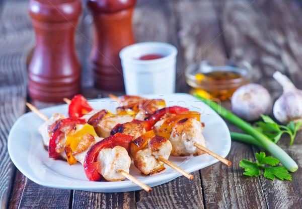 Kebap et biber plaka gıda turuncu Stok fotoğraf © tycoon