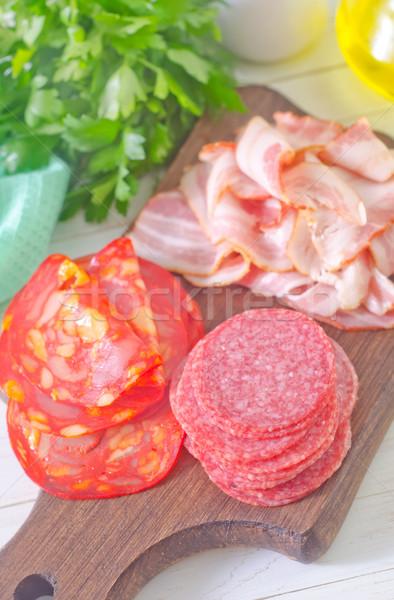 Salam domuz pastırması gıda kırmızı kahvaltı yağ Stok fotoğraf © tycoon