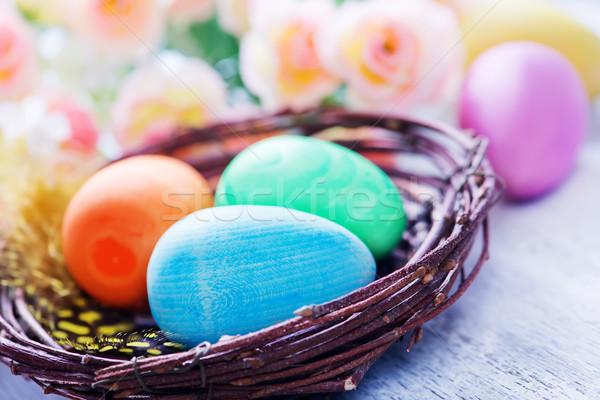 Decorativo verniciato easter eggs tavola Pasqua cielo Foto d'archivio © tycoon