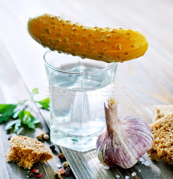 Wodka voedsel partij zwarte ontbijt vork Stockfoto © tycoon