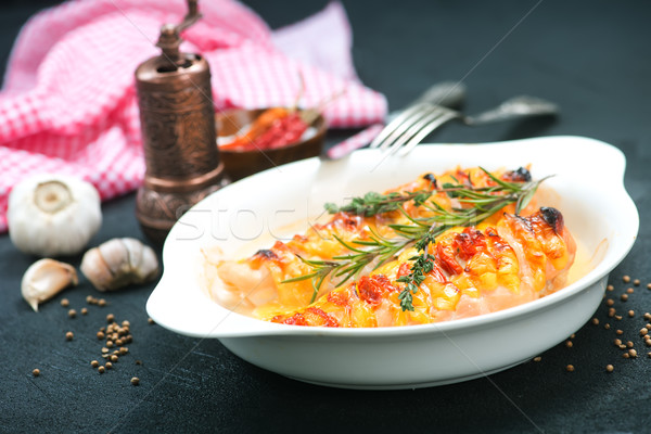 Kipfilet kaas spek plaat voedsel kip Stockfoto © tycoon