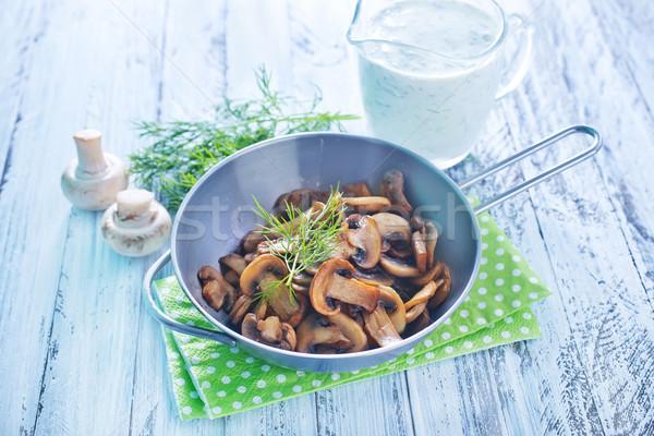 Sült gomba egészség vacsora tányér főzés Stock fotó © tycoon