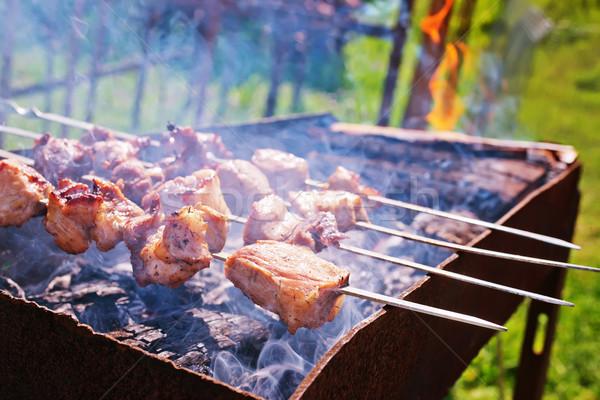 Kebap gıda duman karanlık yağ sıcak Stok fotoğraf © tycoon