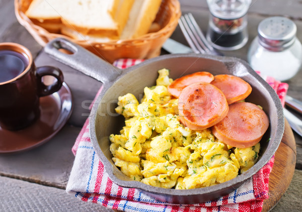Reggeli tojás kenyér piros villa fehér Stock fotó © tycoon