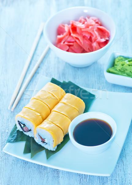 Taze sushi soya sosu tablo gıda balık Stok fotoğraf © tycoon