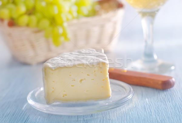 Camembert alimentos vino madera frutas pan Foto stock © tycoon