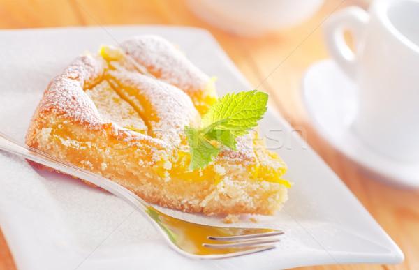 Torta pêssego fruto queijo jantar doce Foto stock © tycoon