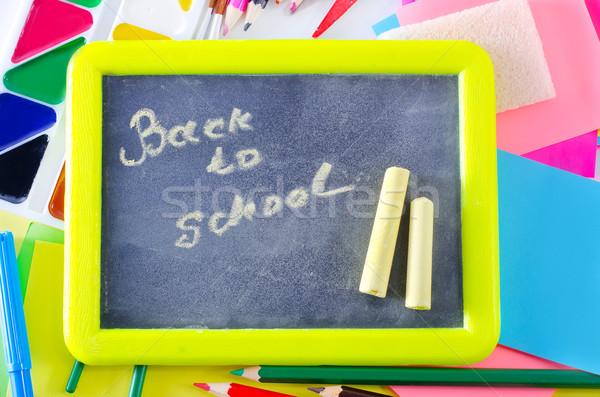 Okul malzemeleri doku sınıf renk sınıf beyaz Stok fotoğraf © tycoon