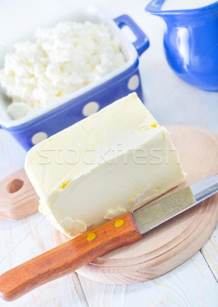 Manteiga leite casa de campo comida folha vidro Foto stock © tycoon