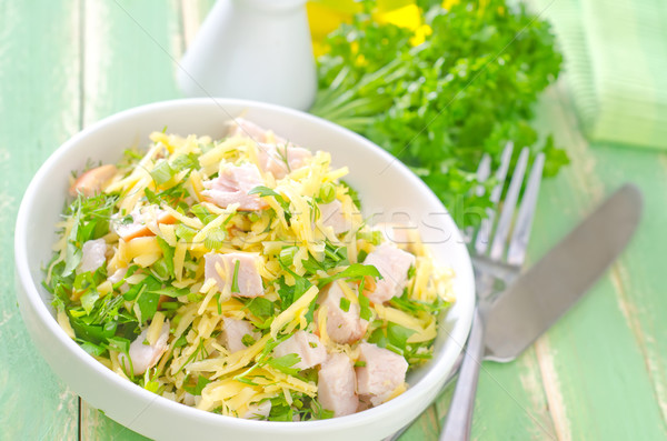 Salata tavuk peynir gıda ayçiçeği akşam yemeği Stok fotoğraf © tycoon