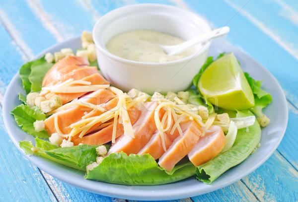 Salata gıda sağlık plaka kahvaltı taze Stok fotoğraf © tycoon