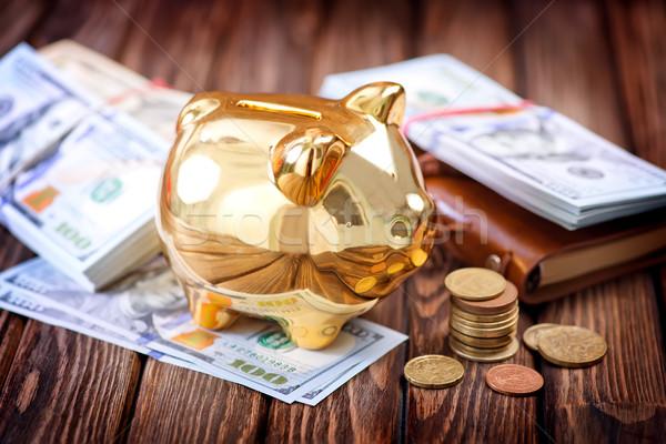 Piggy Bank деньги таблице знак Финансы банка Сток-фото © tycoon