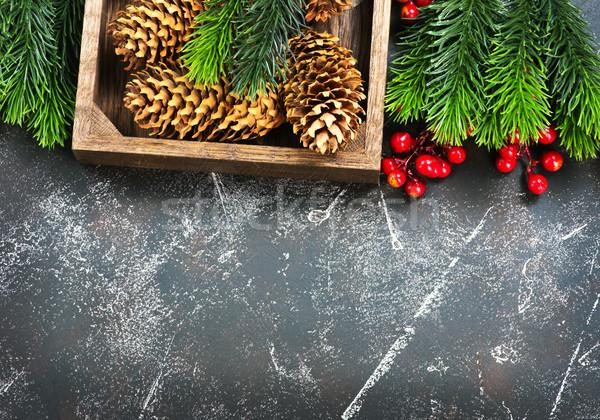 Рождества украшение филиала таблице древесины дизайна Сток-фото © tycoon