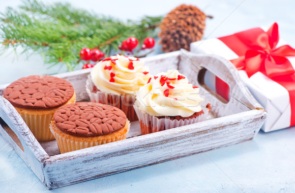Stockfoto: Muffins · christmas · decoratie · tabel · chocolade · cake