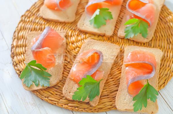 Zalm peterselie voedsel gezondheid oranje brood Stockfoto © tycoon