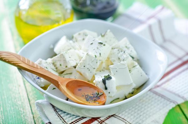 Fetasajt tej reggeli kövér gyógynövények friss Stock fotó © tycoon