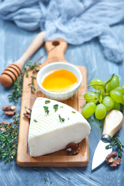 Foto stock: Camembert · miel · bordo · stock · foto · azul